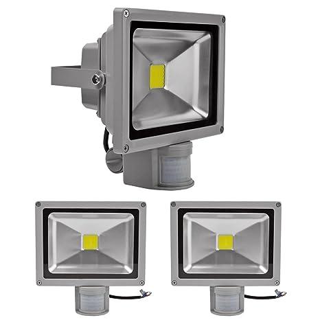 3pcs Blanco Frío 20W LED Proyector PIR Sensor Focos De Movimiento Ac85-265V Reflector Impermeable