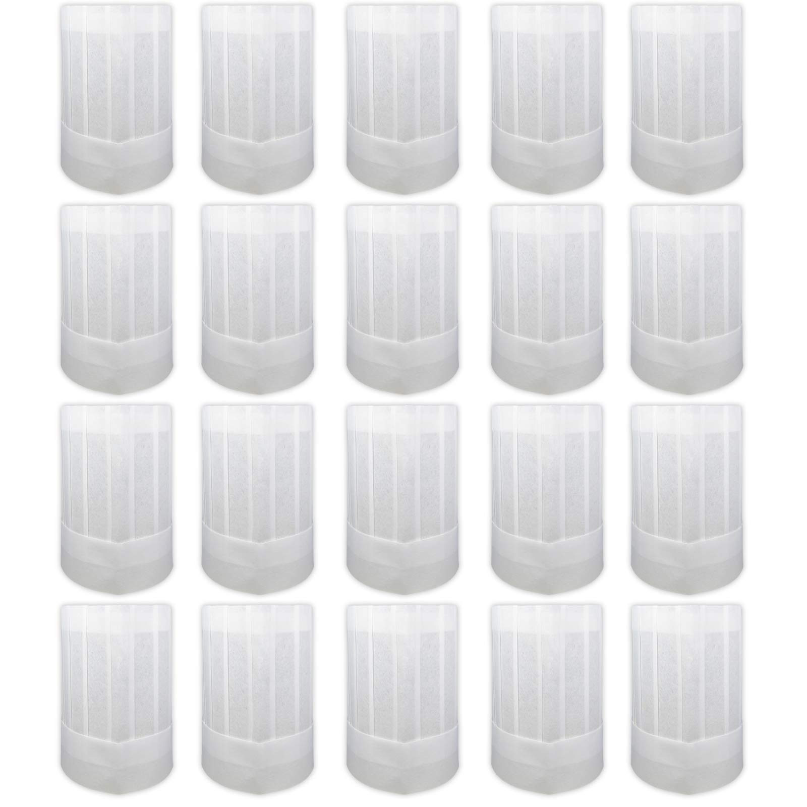 Chef Hats 20 Pcs | Disposable Tall White Paper Culinary Hat - Multi-Set Pack | Chef Hats for Home Kitchen, Restaurants, Food Occasions, Classes and Parties | [9'' Tall] (20 Piece Count)
