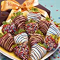 Golden State Fruit 12 Piece Happy Birthday Chocolate Covered Strawberries from Golden State Fruit - DROPSHIP