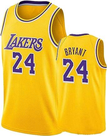 DCE Jersey de Hombre Kobe Bryant NO. 24 Los Angeles Lakers Camisetas de Verano Uniforme de Baloncesto Bordado Tops Camisetas de Traje de Baloncesto Jersey (Amarillo-1, M(48)): Amazon.es: Ropa y accesorios