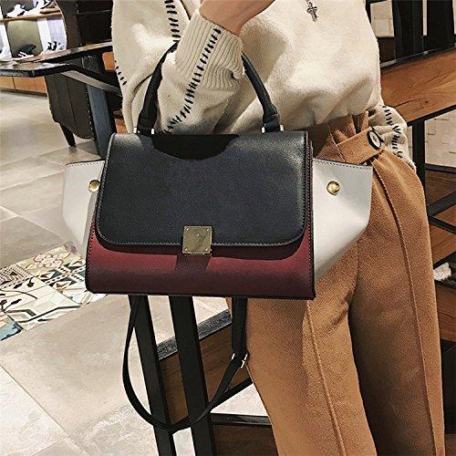 Bag qualité haute Dames AASSDDFF PU Sacs Tote Shoulder Crossbody Patchwork à Femmes Tricolore Noir Swing main Trapèze Designer de Bag qwFXP7xI1F