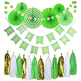 Monkey Home 20pcs of Tissue Paper Fans,Happy Birthday Banner Party Decorations Circle Dots,Paper Garland Tissue Paper Tassel for First Birthday Baby Shower Supplies (Green Theme)