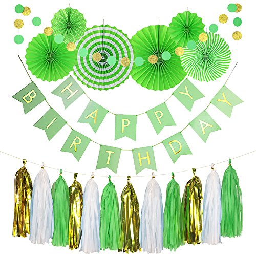 Monkey Home 20pcs of Tissue Paper Fans,Happy Birthday Banner Party Decorations Circle Dots,Paper Garland Tissue Paper Tassel for First Birthday Baby Shower Supplies (Green Theme) -