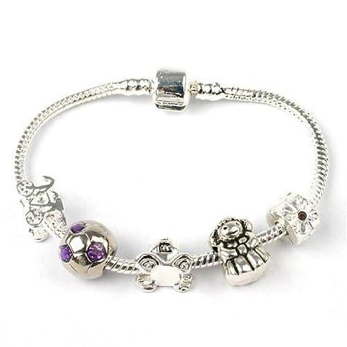 Braccialetto per ragazze adolescenti placcato in argento, con ciondoli,  personalizzabile Regalo ideale per ragazze e per