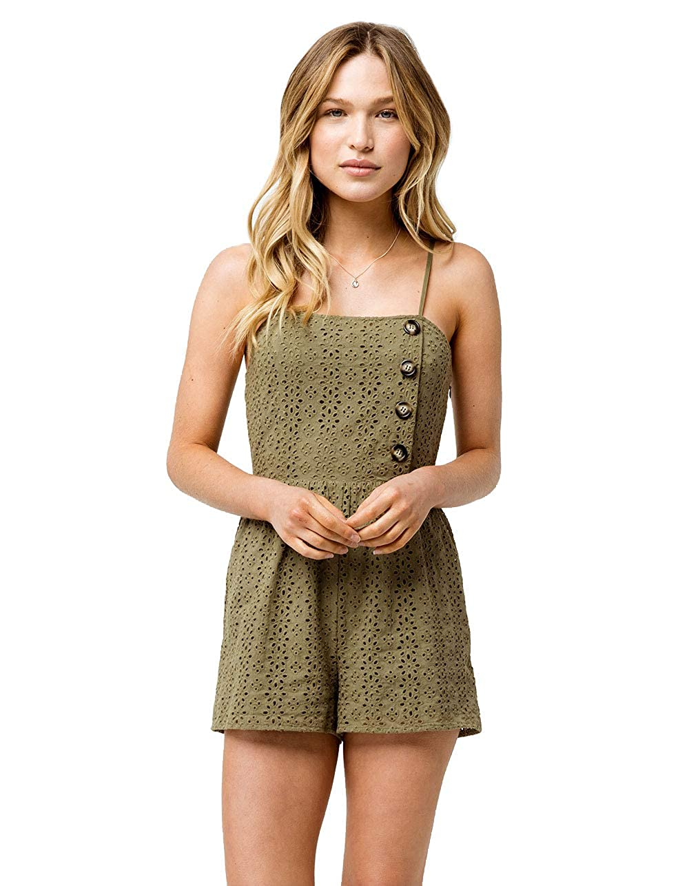 ebc1a38f6fed Amazon.com  Sky and Sparrow Button Front Structured Olive Romper ...