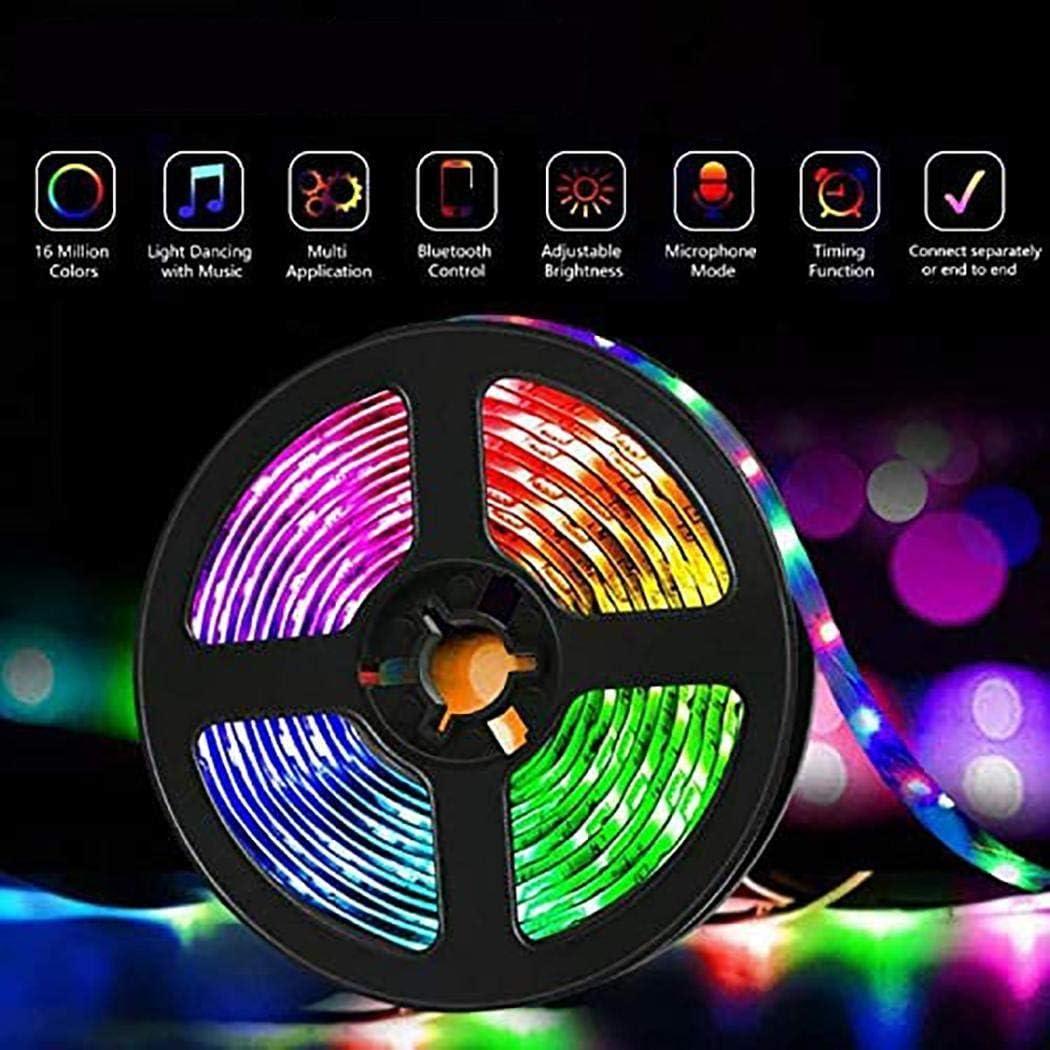 ladiy 32ft RGB Music Bluetooth Light Strip Smart APP Controlled Waterproof LED Light Bar LED Bulbs