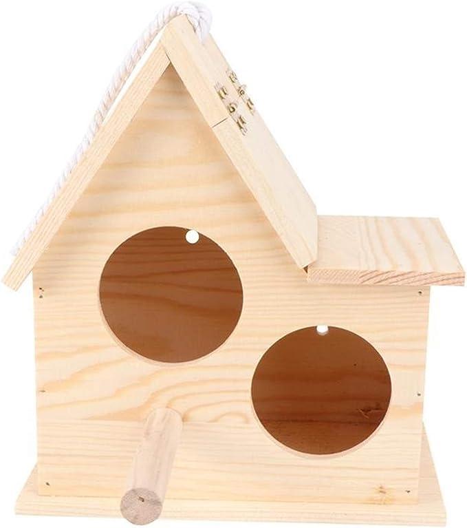 WGGTX Jaulas para pájaros MDF Casa de Aves Triangular Casa de Pet Pet Bird Nest Colgante Parrot Caja de cría Birdhouse/Birdcage/Caja de reproducción 1pc