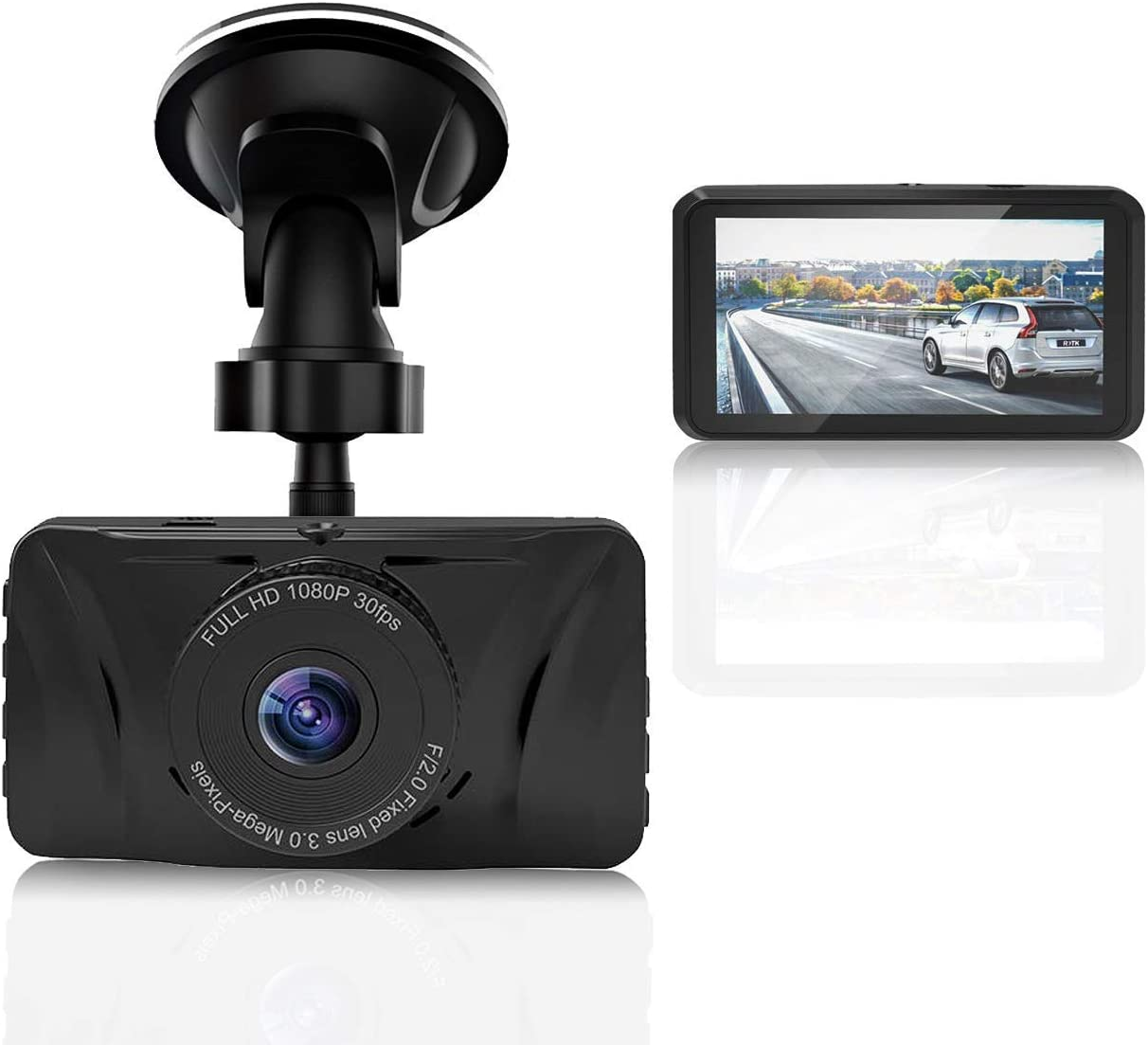YUZES Dash Cam 1080P FHD DVR Car Driving Recorder 3 Inch LCD Screen 170 Wide Angle, G-Sensor, WDR, Parking Monitor, Loop Recording, Motion Detection