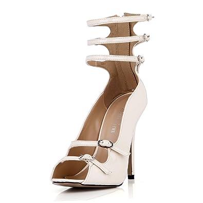 89dc17a1bda DolphinGirl Women Fashion White Peep Toe Strap Buckles 12CM High Heels  Ankle Wrap Zip Dress Prom