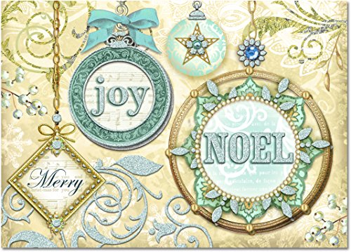 Punch Studio Holiday Cards: Blue Christmas Ornaments with Glitter and Gem Embellishments (Set of 12)