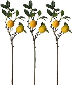 Sogaml 3 Pack Artificial Lemon Branch, Spring Picks with Lemon, Fake Lemon Tree Decor Simulation Lemon Tree Plants for Kitchen Party Wedding Yellow Farmhouse Style Home Table Decor