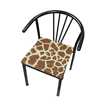 "Bardic HNTGHX Outdoor/Indoor Chair Cushion Giraffe Print Square Memory Foam Seat Pads Cushion for Patio Dining, 16"" x 16"": Home & Kitchen"