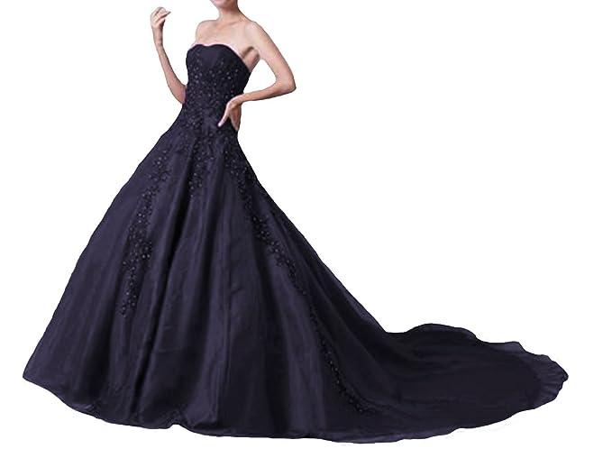 O.D.W O.D.W.Impresionante Vestido de Boda con Cuentas de Organza de línea A para Mujer, Vintage, Colores góticos, Vestidos de Novia: Amazon.es: Ropa y ...