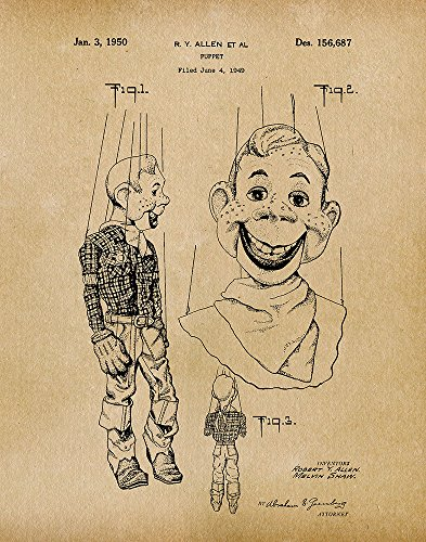 Fresh Prints of CT Original Howdy Doody Puppet Artwork Submitted In 1950 - Toys and Games - Patent Art Print - Parchment