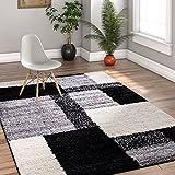 "Modern Shag Geometric 5×7 ( 5′ x 7'2"" ) Area Rug Cubes Black & Cream Plush Shag Blocks & Squares Plush Shag Easy Care Thick Soft Plush Living Room"