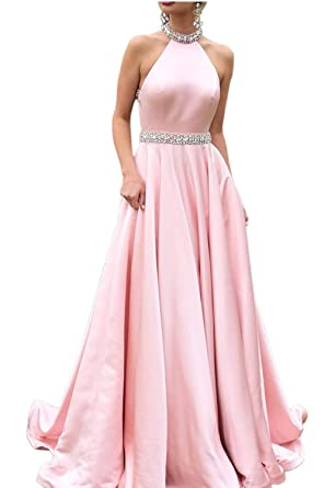 ac0c27354154 2019 Halter Prom Dresses Backless Neckline Rhinestone Beaded Formal Satin  Evening Ball Gowns with Pockets HFY202