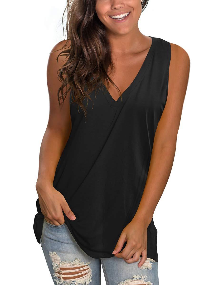 SAMPEEL Women's Basic V Neck T Shirts Side Split Tunic Tank Tops