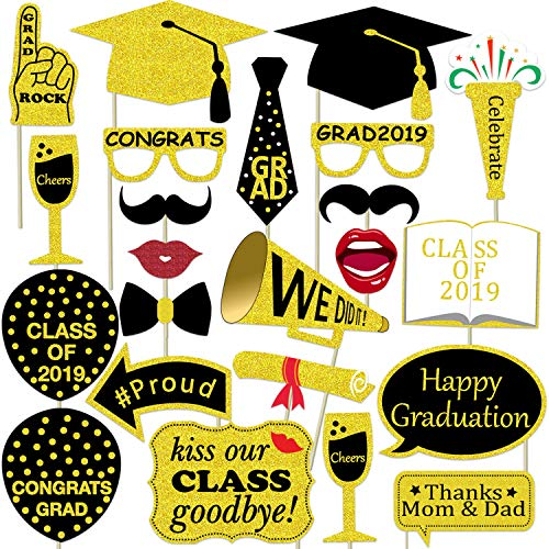 Graduation Photo Booth Props 2019 Large Size - 30pcs, No DIY Needed - Class Of 2019 Photo Booth Props - Graduation Photo Props Glitter]()