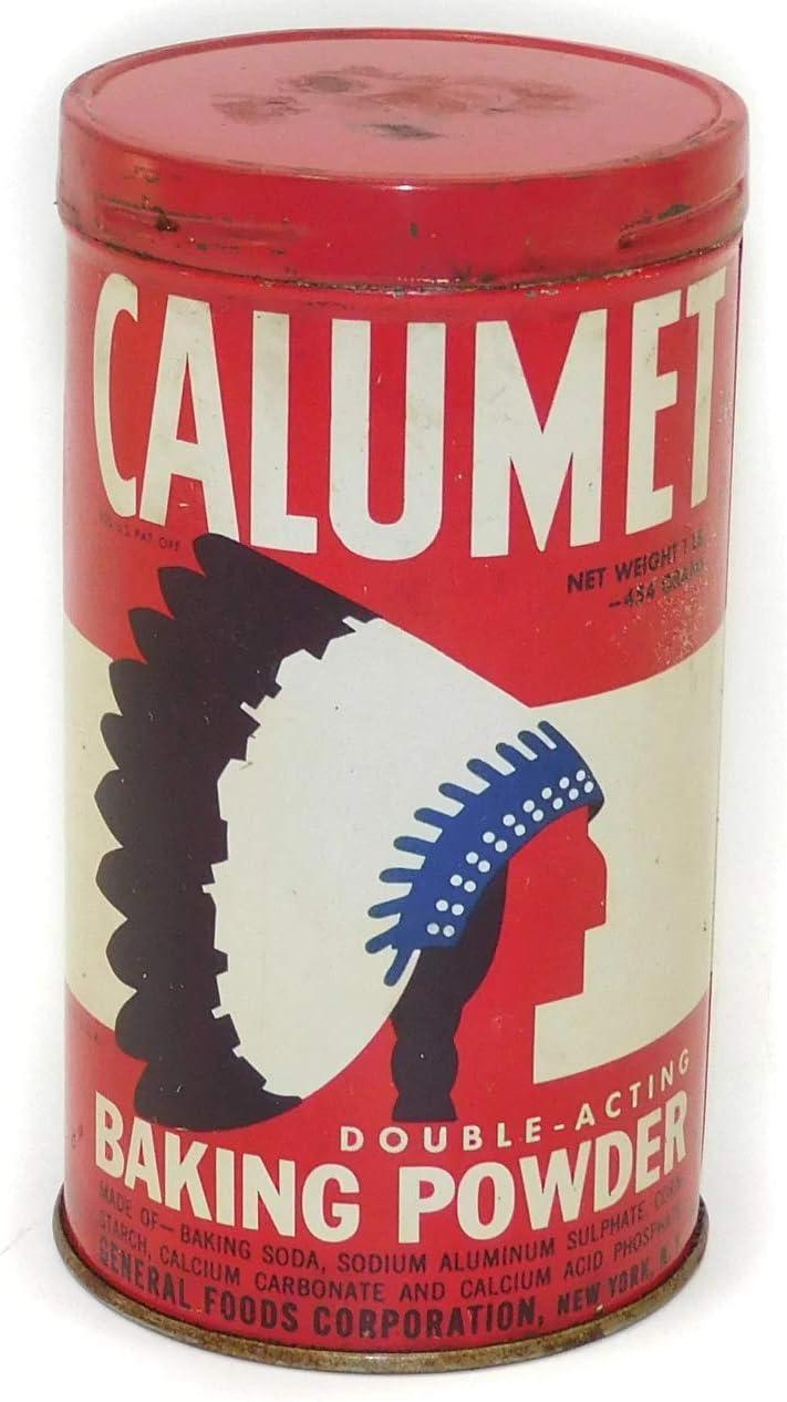 Vintage Calumet General Foods Corp. Indian Logo Advertising Tin Can 1950's