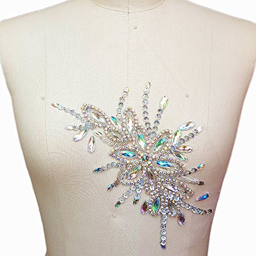 (Exquisite Uniquely Pure Handmade AB Colour Bright Crystal Patches Sew-on Rhinestones Applique with Stones Sequins Beads for Wedding Dress DIY Manual accessories Belt Chest Waist Decoration 16x28cm)
