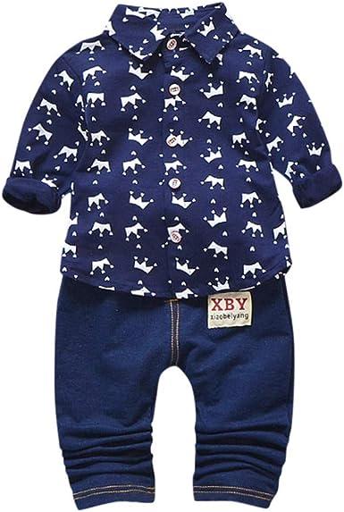 MAYOGO 2pcs Niño Invierno Estampado Camisa Tops Pantalon Vaquero Conjunto de Bebe Niño Otoño Moda Ropa Bebe Niño Pantalones Jeans y Blusa 1-5 Años: Amazon.es: Ropa y accesorios