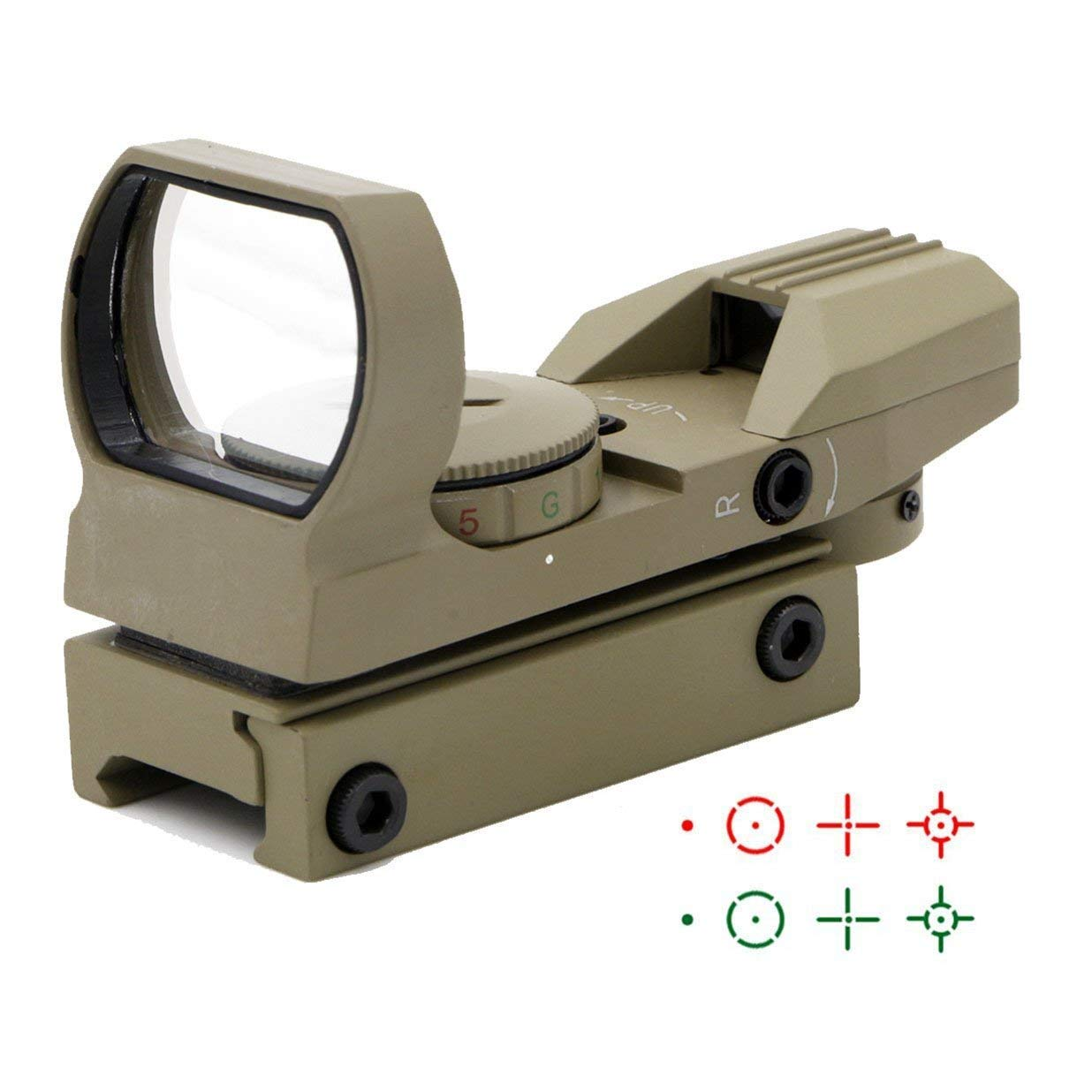 Ohuhu OH-RG-SC-4R Red Green Dot Gun Sight Scope Reflex Sight with 4 Reticles (Sand) by Ohuhu