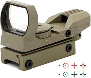 Ohuhu Red Green Dot Sight Gun Sight Scope Reflex Sight with 4 Adjustable Reticles - 4 Styles