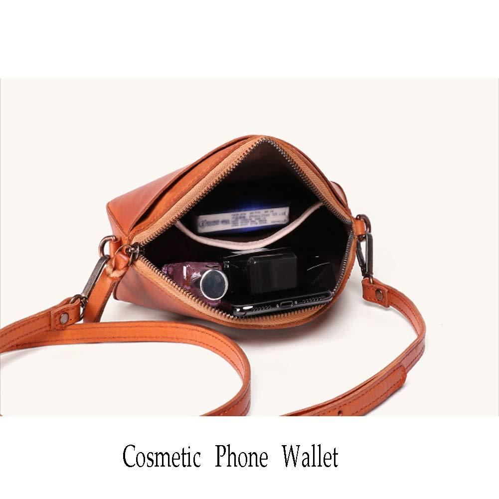FFYUYI Retro enkel enfärgad liten axelväska, högkvalitativ läder-kvinna-hand, C c