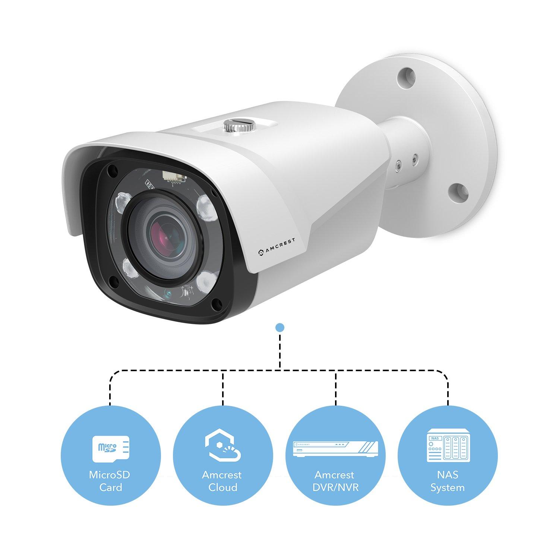 Motorized Varifocal Lens 55/°-104/° MicroSD Storage 5X Optical Zoom 197ft NightVision Amcrest UltraHD 4MP POE Bullet IP Security Camera SCNEW-11987 2688x1520 IP4M-1054EW White
