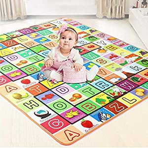 AYSIS Double Sided Water Proof Baby Carpet Mat Crawling Play Mat Carpet Baby Gym Water Resistant (Extra Large Biggest…
