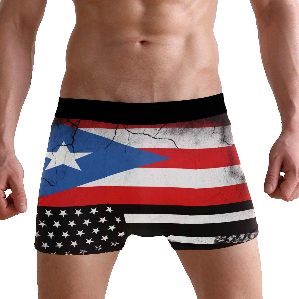 X-Large,as photo Mens Puerto Rico Skull Boxer Briefs Underwears Light Weight Casual Breathable Soft Cotton