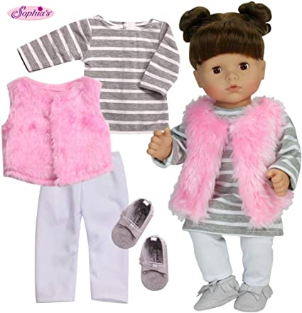 Doll Clothes Stripe Vest Outfit 5 piece fits 18 inch American Girl