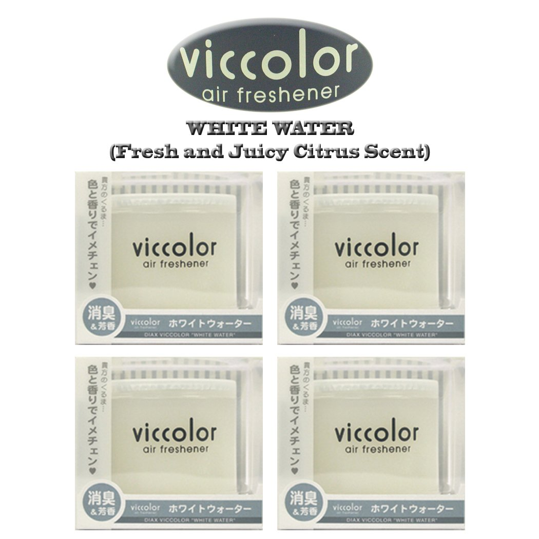 4-pack Viccolor White Water (Fresh and Juicy Citrus Scent) High Quality Luxury Air Freshener JDM Genuine Diax Japan for Home/office/ Car/ Auto/ Rv