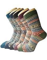 5 paar wintersokken voor dames, ademend, zachte, dikke sokken, bonte kleuren, premium kwaliteit, klimaatregulerend effect, meerdere kleuren