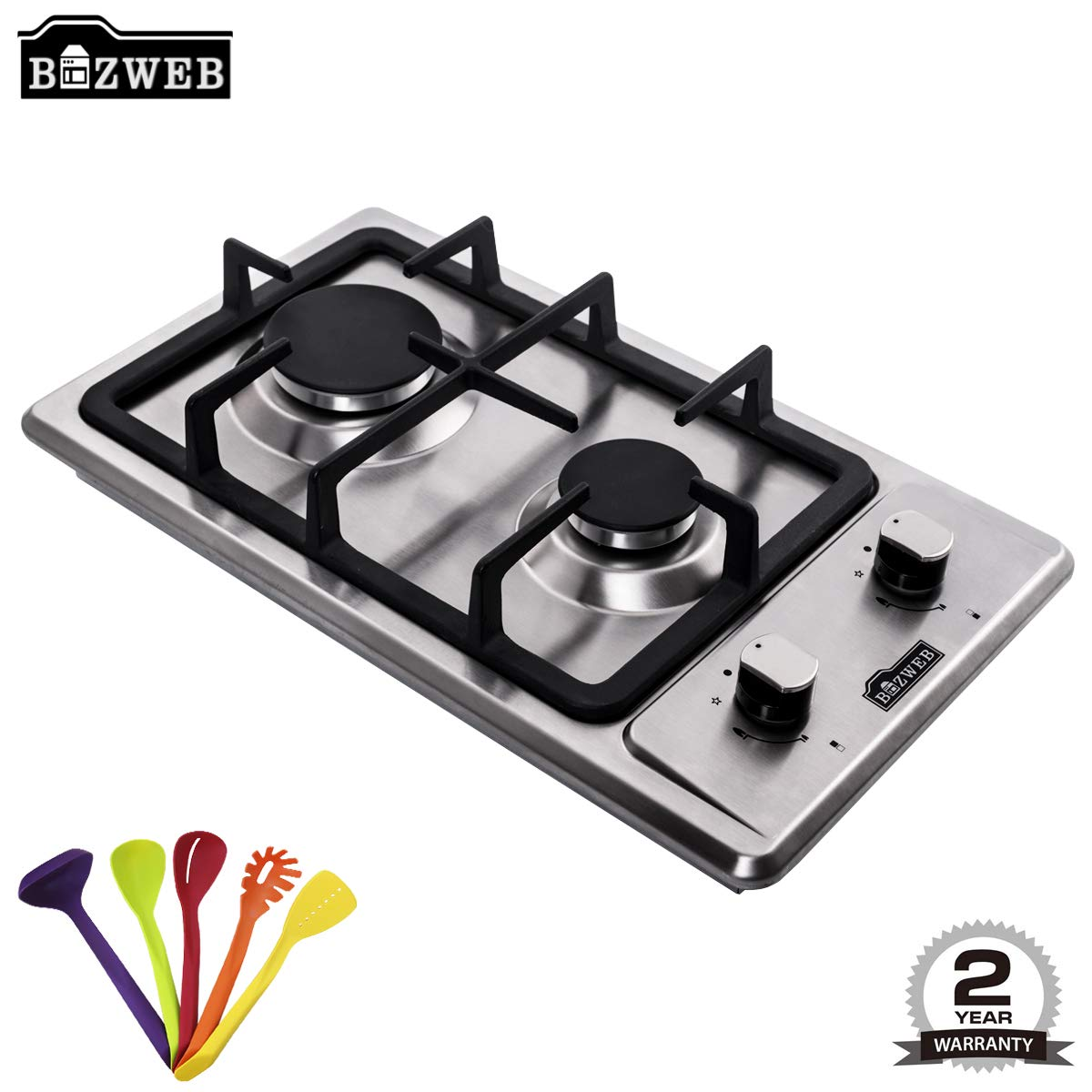 B-ZWEB [GIFT] Domino 30CM Built-in 2 Burners Gas Hob/Cooker/Cooktop in Stainless Steel with LPG Kit/Cast Iron/FFD