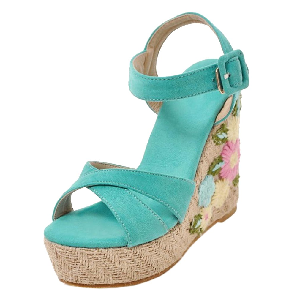 TAOFFEN Women Ankle Strap Wedge Heels Sandals B07BTRSK91 7 US = 24.5 CM|Blue-3