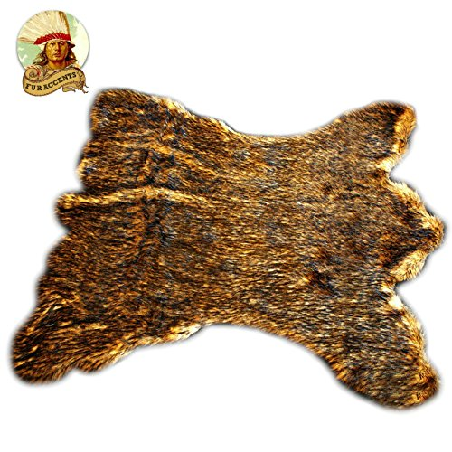 Golden Brown Alaskan Kodiak Bear Skin Throw Rug - 5x6 Quality - Fur Accents = Faux Fur Pelt Rug - Americana Collection - Designer Throw Carpet - Wolf - Buffalo - Coyote by Fur Accents