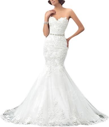 Oyisha Womens Formal Strapless Sweetheart Mermaid Wedding Dress