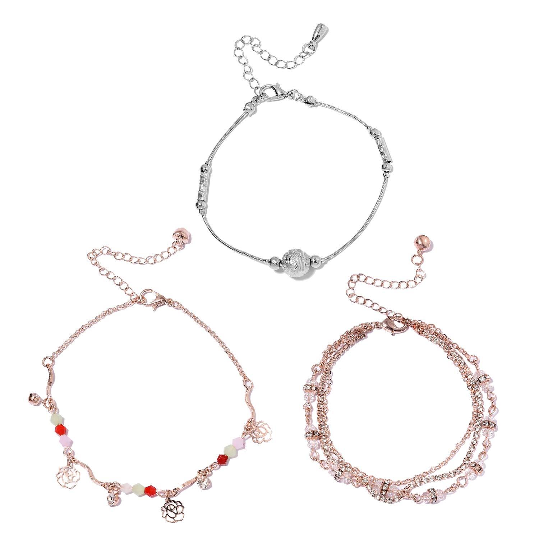 Shop LC 100Ir Natural Iron Round White Crystal Multi Gemstone Fashion Anklet for Women
