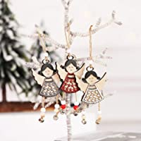Axgo 3Pc Christmas Wind Chime Pendant Half Hollow Wooden Angel Door Hanging Angle for Xmas Tree Decorations, Multicolor