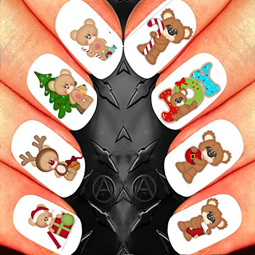 DOUBLE PACK CHRISTMAS NAIL ART SET STICKERS DECALS WATER TRANSFERS. XMAS SEASONAL HOLIDAYS CUTE TEDDY BEAR CANDY CANE PRESENT JOY GIFTS DECORATIONS WRAPS! USE WITH NATURAL GEL ACRYLIC STICK ON NAILS! (Candy Bears Cane)