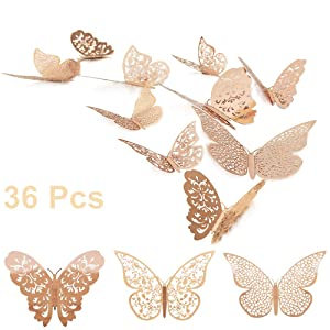 36 Pcs 3D Butterfly Wall Decals Sticker with Rose Gold Butterfly Decals Metallic Art Decorations Sticker with Set 3 Sizes DIY Man Made Removable Decorative Paper Murals for Home, Nursery, Party Decor