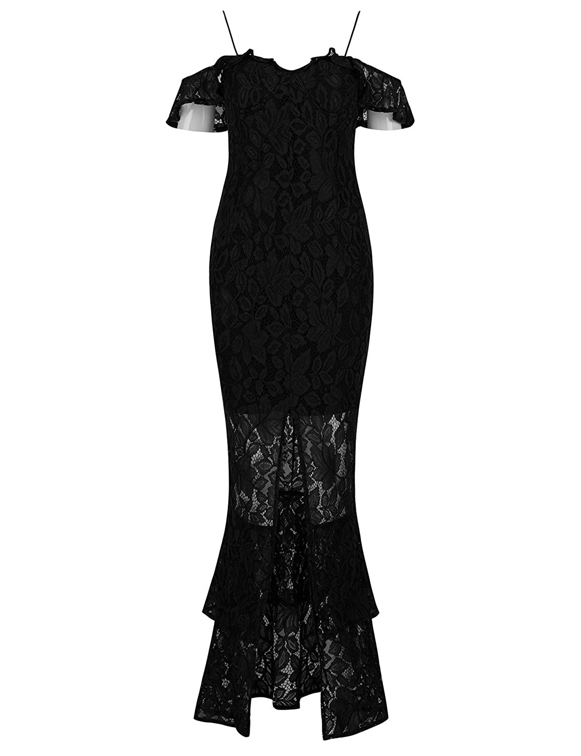 Hego Womens Off Shoulder Mermaid Bandage Lace Gown Cocktail Evening Wedding Club Party Dresses H5625