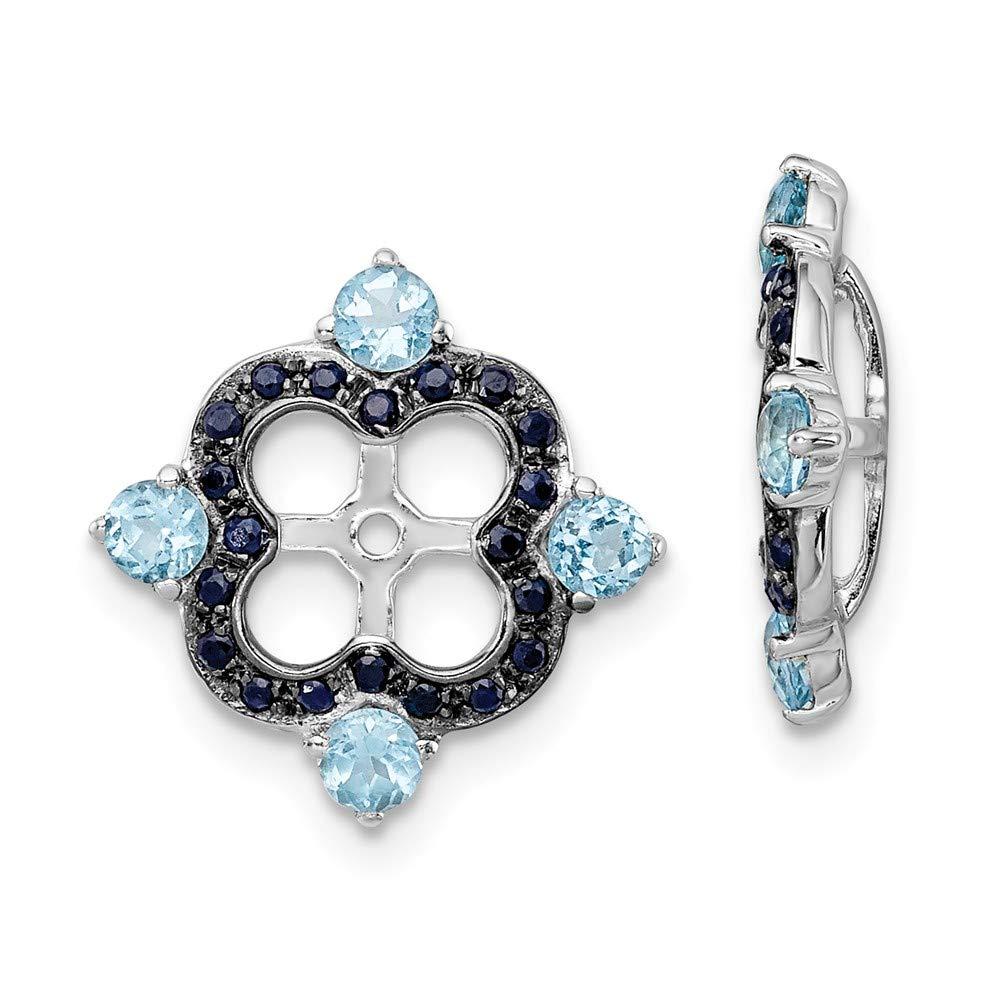 925 Sterling Silver Swiss Blue Topaz Black Sapphire Earrings Jacket Birthstone December Fine Jewelry Gifts For Women For Her