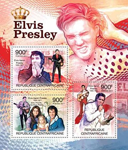 Central Africa 2011 Elvis Presley 3 Stamp Sheet, Scott 1582 - 3H-107