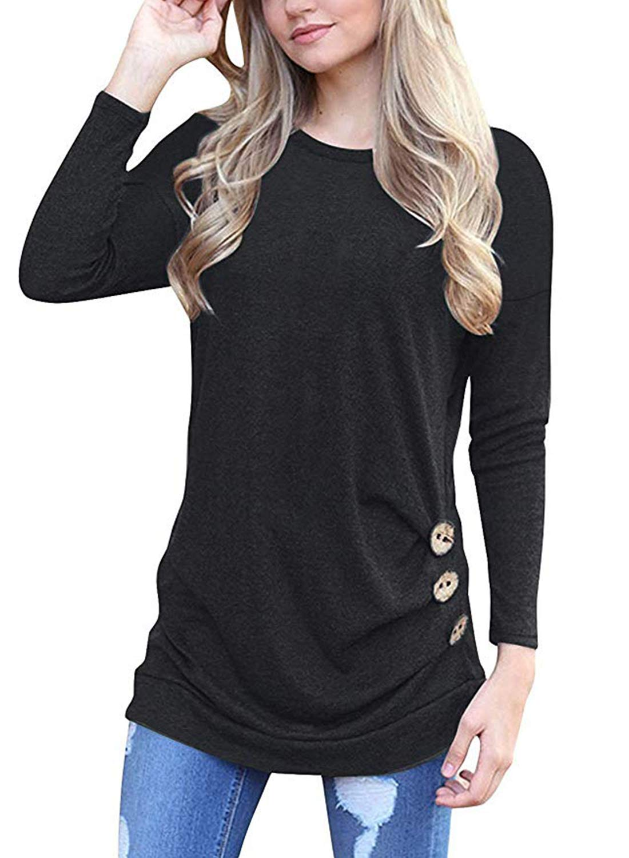 MOLERANI Women's Long Sleeve Scoop Neck Casual Tunic T Shirt Blouse Tops Black L by MOLERANI