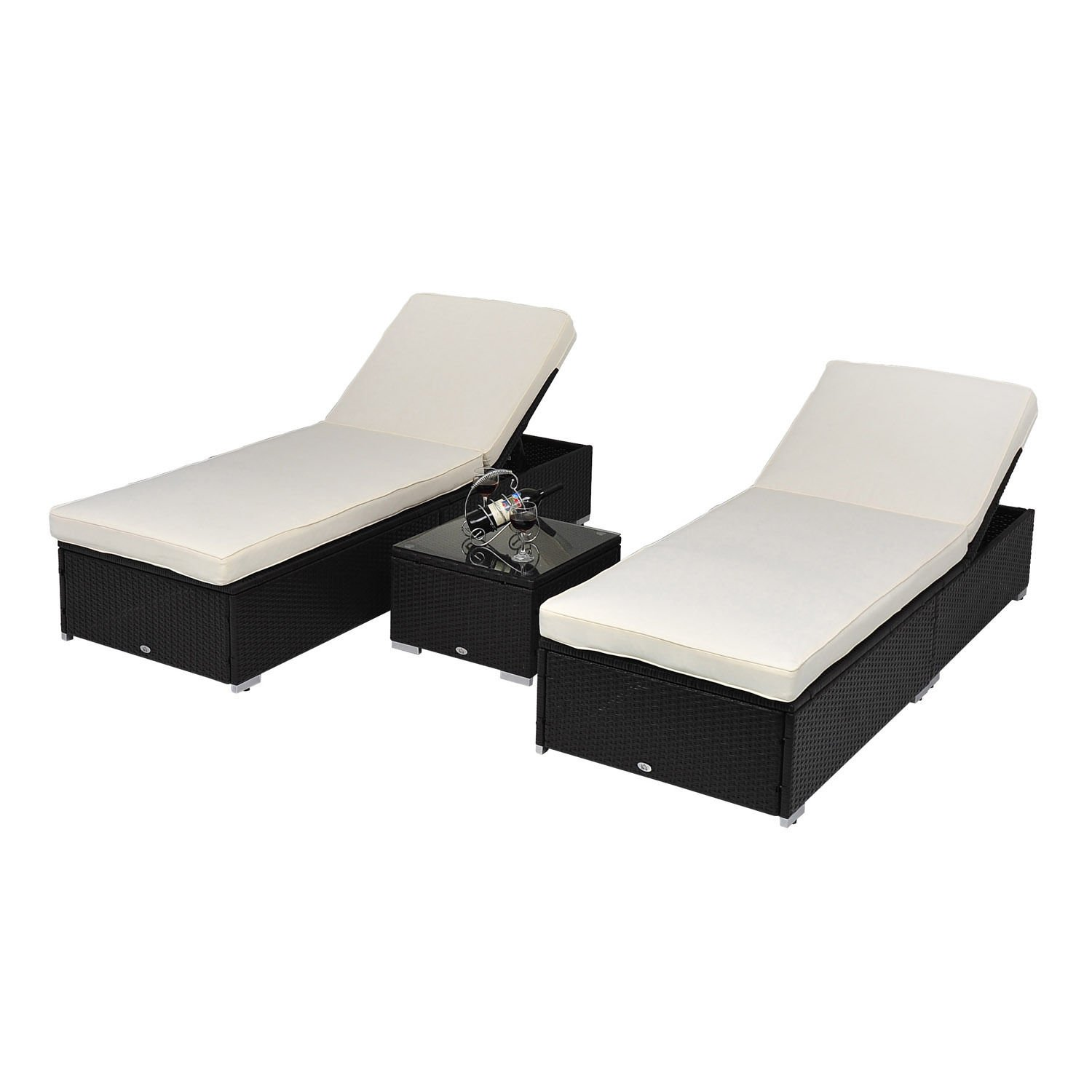 Chaise Lounge Outdoor.Outsunny 3 Piece Rattan Wicker Chaise Lounge Chair Set W Side Table