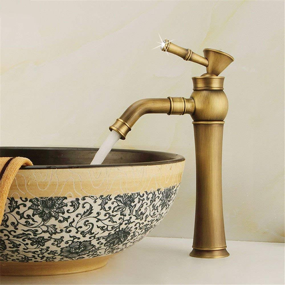 DOJOF Basin Sink Mixer Tap for Lavatory Brass Hot and Cold Water Antique Bathroom Vanity Sink Faucet