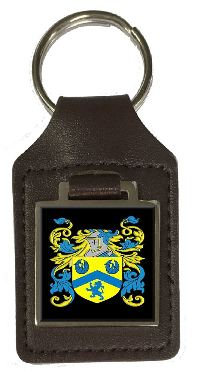 Forbes Family Crest Surname Coat Of Arms Brown Leather Keyring Engraved