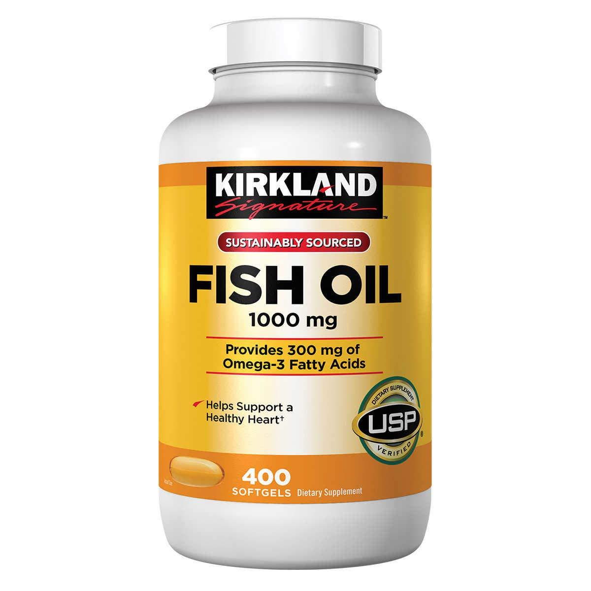 Kirkland Signature Omega 3 Fish Oil 1000 mg 400 Softgels by Kirkland